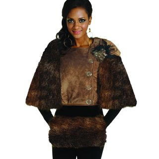 Donna Womens Faux Suede Jacket with Fur Cape and Matching Hand Muff