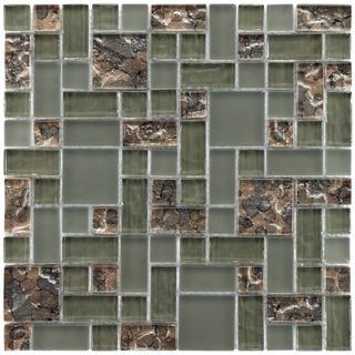 SomerTile 11.75x11.75 inch Reflections Versailles Ranier Glass Mosaic