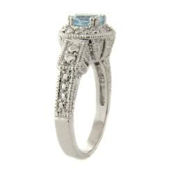 Gem Jolie Brass Blue Topaz and Diamond Accent Ring