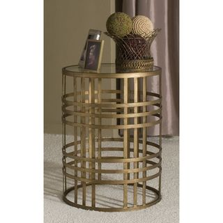 Weave Metal Barrel End Table