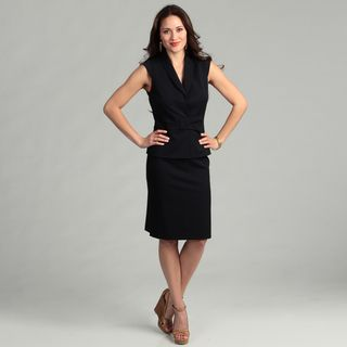 Tahari Womens Navy Cap sleeve Skirt Suit