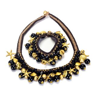 Handmade Onyx and Brass Beads Necklace and Bracelet Set (Thailand