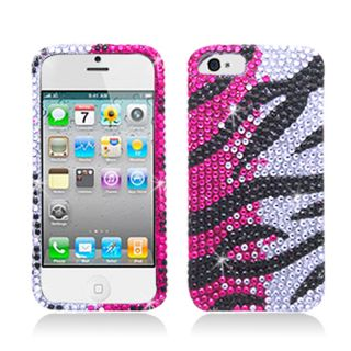 BasAcc Full Diamonds Hot Pink Zebra Case for Apple iPhone 5