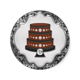 Storm Grey Cake Couture Damask Round Bakery Label Sticker