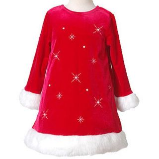 Bonnie Jean Girls Red Snowflake Holiday Dress