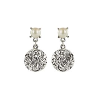 Roman Silvertone Faux Pearl Artisan Filigree Earrings