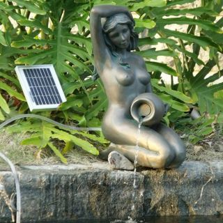 Bronze Girl Kneeling Holding Pot 2 watts Solar Water Pump Kit