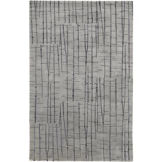 Julie Cohn Hand knotted Carnero Grey Abstract Design Wool Rug (8 x 11