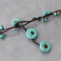 Cotton Turquoise, Coral and Pearl Brass Bead Necklace (7 mm) (Thailand