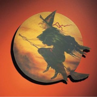 Interiors 20 x 23 in. Witch Flying Over Golden Moon Sign at