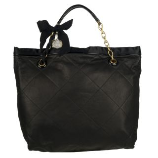 Lanvin Amalia Black Quilted Leather Tote Bag