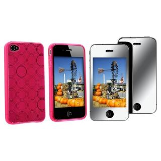 Hot Pink Circle TPU Case/ Mirror Screen Protector for Apple iPhone 4