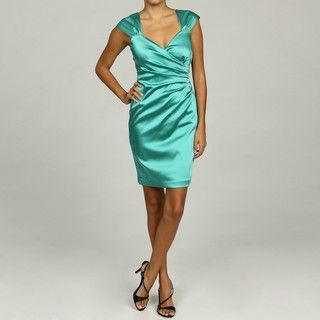 Ellen Tracy Womens Ruched Satin Dress