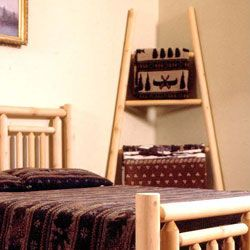 Rustic Log Pole Adirondack Cedar Quilt Ladder