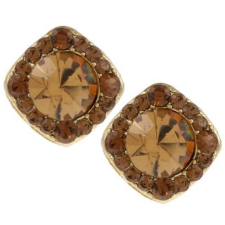 Morgan Ashleigh Silvertone Brown Cubic Zirconia Stud Earrings