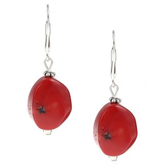 Donna Dressler Sterling Silver Red Coral Nugget Leverback Earrings