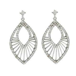 Morgan Ashleigh Silvertone Clear Glass Openwork Teardrop Earrings