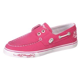 Ed Hardy Womens Del Mar Fuchsia Canvas Boat Shoes