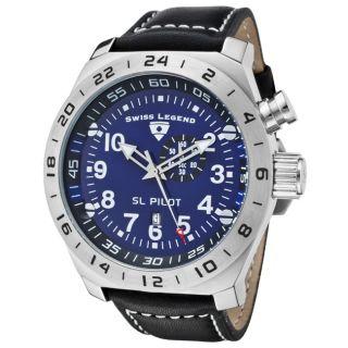Swiss Legend Mens SL Pilot Black Genuine Calf Leather Watch