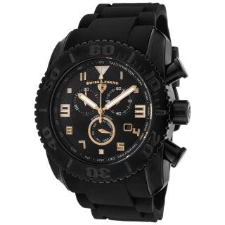Swiss Legend Mens Commander Black Silicon Watch