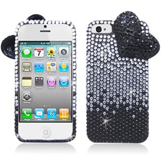 BasAcc Black/ White Diamonds with 3D Heart Case for Apple iPhone 5