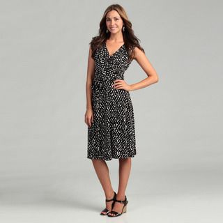 Jessica Howard Womens Black/ White Wrap Dress