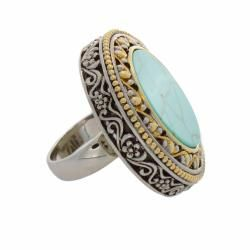 NEXTE Jewelry Antiqued Brass Two tone Round Turquoise Aztec Ring