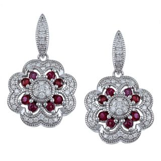 14k White Gold Ruby and 1/2ct TDW Diamond Earrings (H I, I1 I2