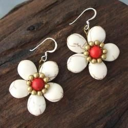 Brass/ Silver Red Coral/ White Turquoise Flower Earrings (Thailand