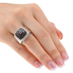 David Yurman Sterling Silver Black Diamond Ring