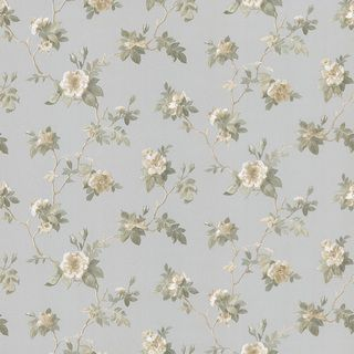 Brewster Blue Small Floral Wallpaper