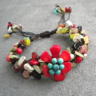 Cotton Rope Multi gemstone Flower Pull Bracelet (Thailand)