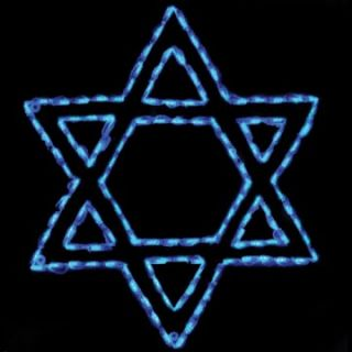 33 in. Outdoor LED Star of David Lighted Display   132 Bulbs