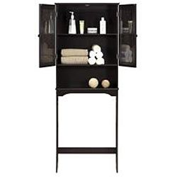 Fifth Avenue Espresso/ Amber Glass Tower Cabinet