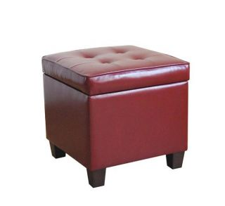 Tufted Square Dark Red Leatherette Storage Ottoman