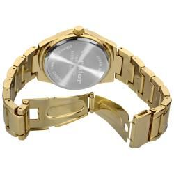 Vernier Womens Gold Tone Side Chrono  Crystal Bezel Bracelet