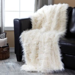 Signature Series Oversized Ivory Mongolian Throw   Blankets at