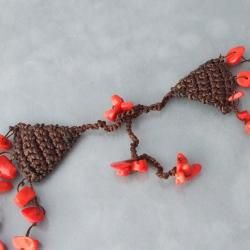 Cotton Crochet Triple Strand Red Coral Bubble Necklace (Thailand