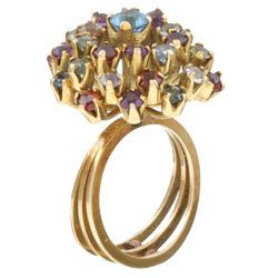 18k Gold Multi colored Gemstone Estate Ring (Size 6.5)