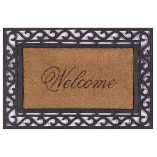 Framed Coir Welcome Outdoor Doormat   Outdoor Doormats