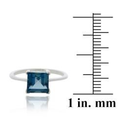 Glitzy Rocks Silver 2 1/6ct TGW London Blue Topaz Square Solitaire