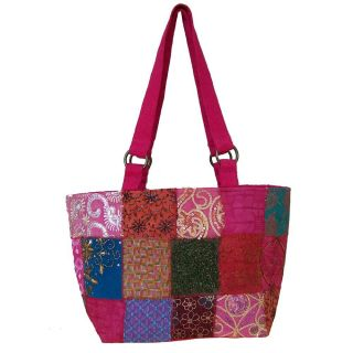 Cotton Hot Pink Sari Patchwork Shoulder Bag (India)