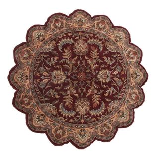 Burgundy/ Brown Hand tufted Star Rug (8 x 8)
