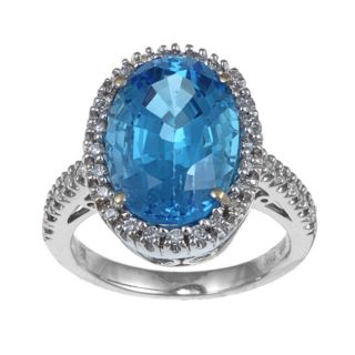 18k White Gold Blue Topaz and 1/3ct TDW Diamond Ring
