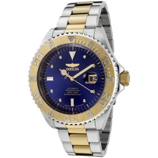 Invicta Mens Pro Diver Blue Dial Two tone Automatic Diamond Watch