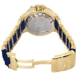 Invicta Mens Subaqua/Noma III 18k Goldplated Rubber Strap GMT Watch