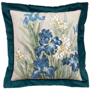 Oriental Iris Needlepoint Kit 14X14 14 Mesh Stitched In Floss Today