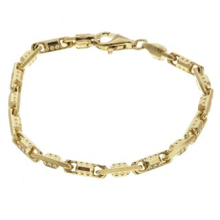 14k Gold over Silver 9 inch Fancy Bullet Bracelet