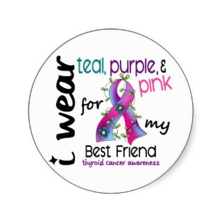 Thyroid Cancer Ribbon Stickers, Thyroid Cancer Ribbon Sticker Designs