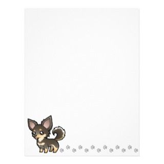 Cartoon Chihuahua (blue and tan long coat) letterhead by SugarVsSpice